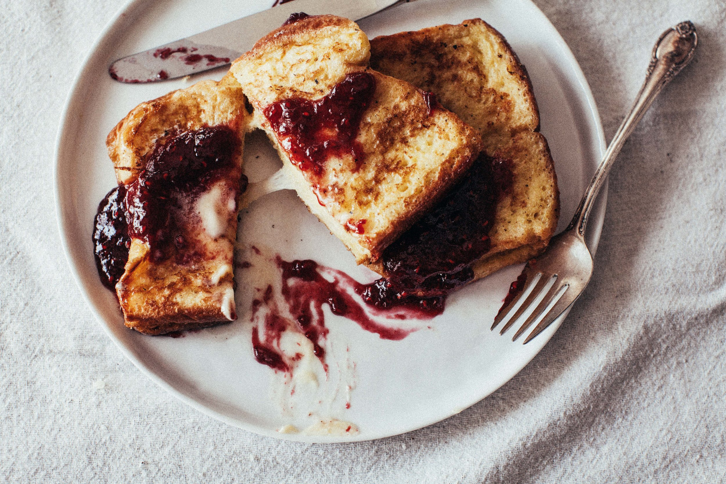 Savory Gruyere Filled French Toast With Raspberry Preserves Sweetish